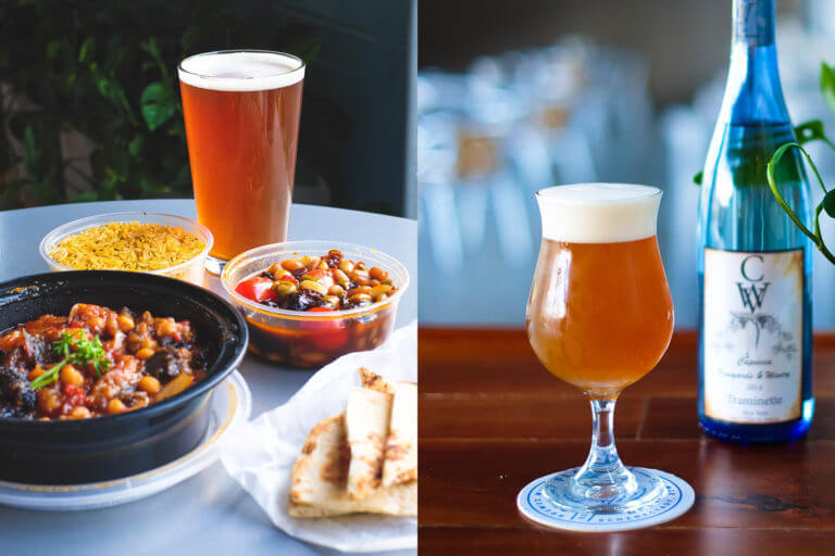 Great Flats beers paired with delicious take out food